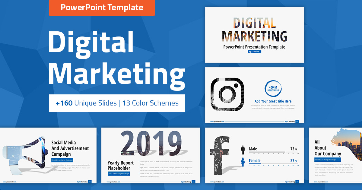 Digital Marketing and Social Media Powerpoint Presentation Template
